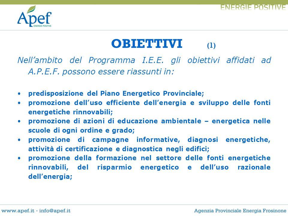OBIETTIVI (1) Nellambito del Programma I.E.E. gli obiettivi affidati ad A.P.E.F. possono essere riassunti in: predisposizione del Piano Energetico Pro