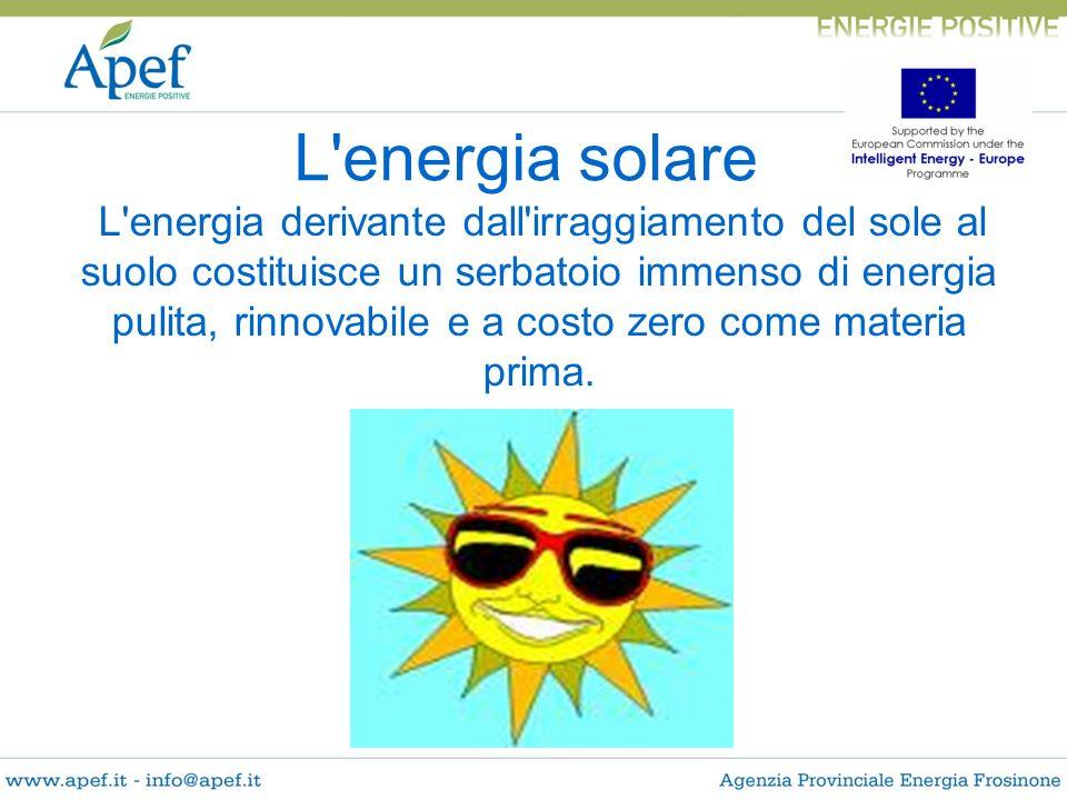 L'energia solare L'energia derivante dall'irraggiamento del sole al suolo costituisce un serbatoio immenso di energia pulita, rinnovabile e a costo ze