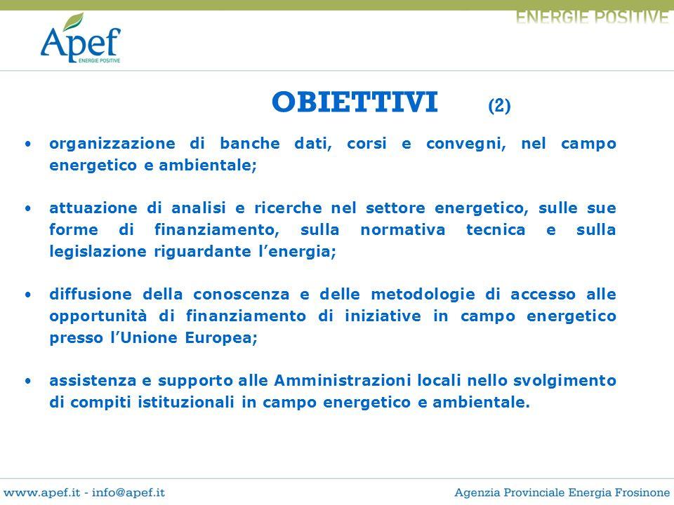 OBIETTIVI (2) organizzazione di banche dati, corsi e convegni, nel campo energetico e ambientale; attuazione di analisi e ricerche nel settore energet