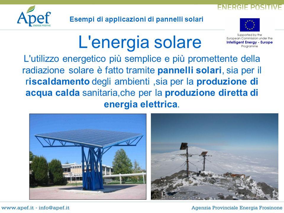 L'utilizzo energetico più semplice e più promettente della radiazione solare è fatto tramite pannelli solari, sia per il riscaldamento degli ambienti,