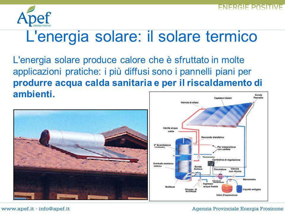 L'energia solare: il solare termico L'energia solare produce calore che è sfruttato in molte applicazioni pratiche: i più diffusi sono i pannelli pian