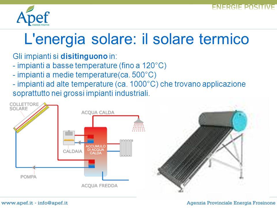 L'energia solare: il solare termico Gli impianti si disitinguono in: - impianti a basse temperature (fino a 120°C) - impianti a medie temperature(ca.