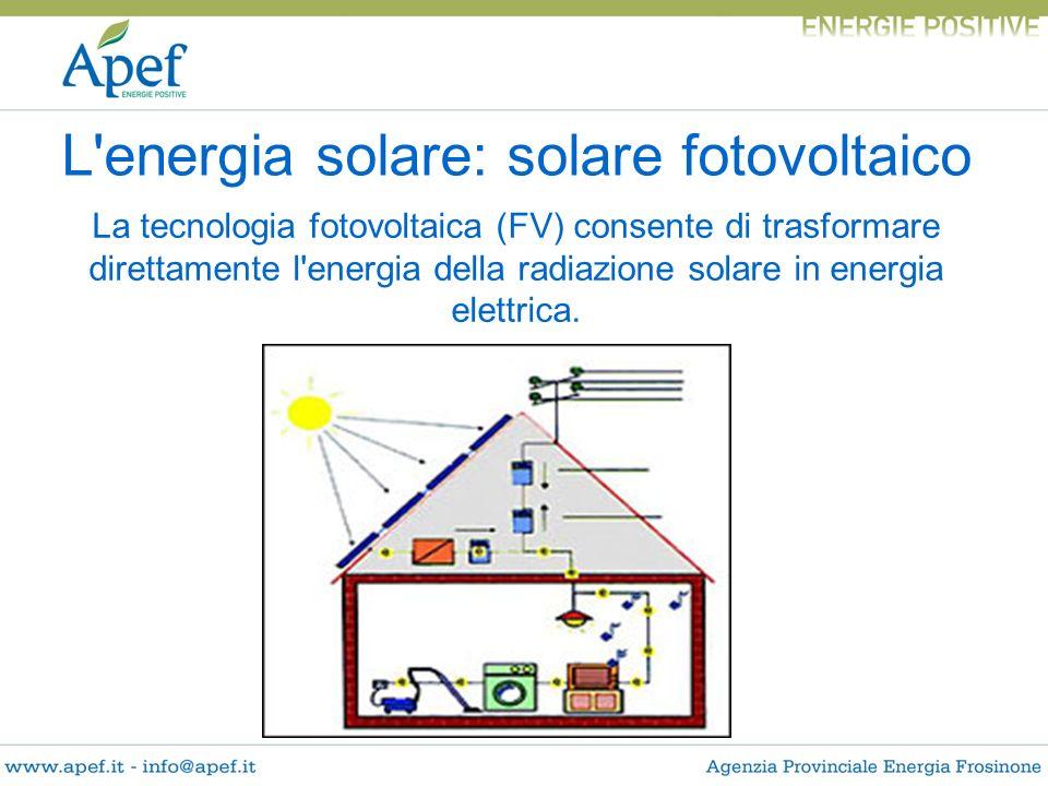 La tecnologia fotovoltaica (FV) consente di trasformare direttamente l'energia della radiazione solare in energia elettrica. L'energia solare: solare