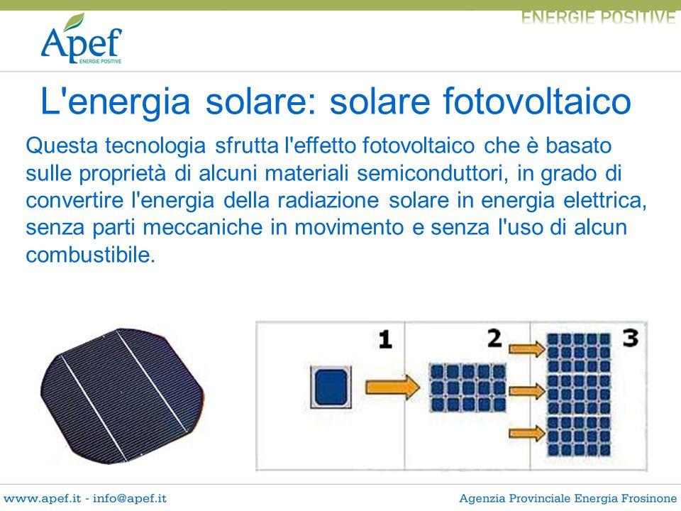 Questa tecnologia sfrutta l'effetto fotovoltaico che è basato sulle proprietà di alcuni materiali semiconduttori, in grado di convertire l'energia del