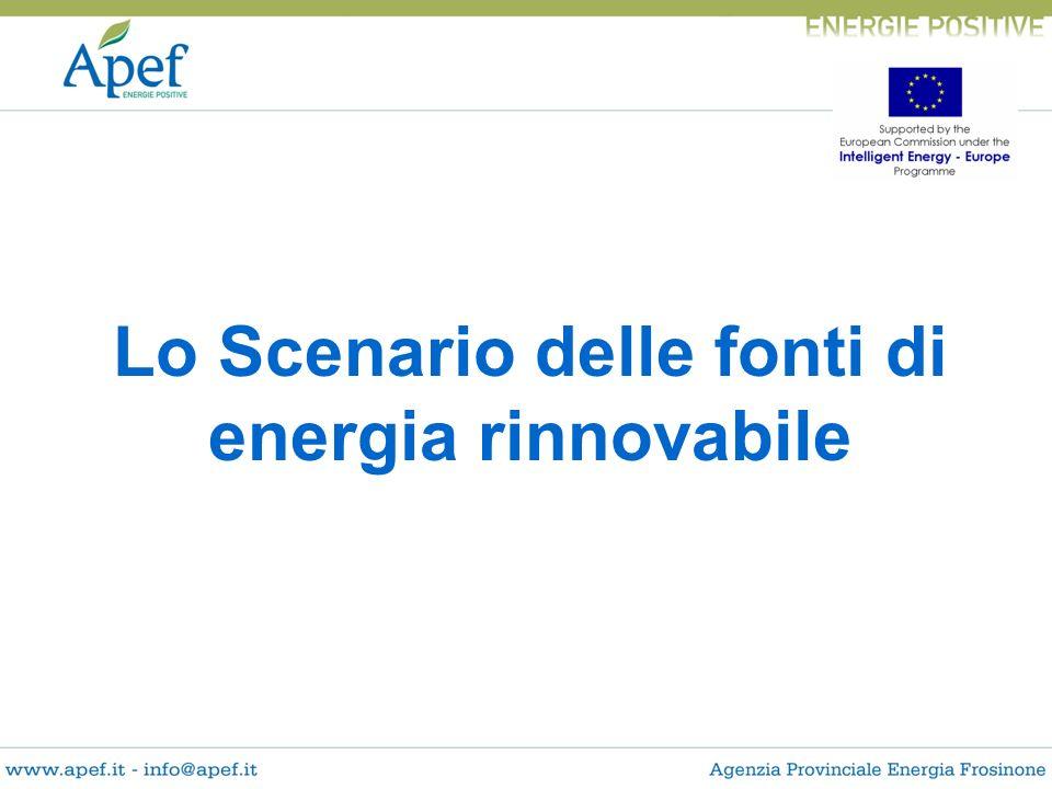 Lo Scenario delle fonti di energia rinnovabile
