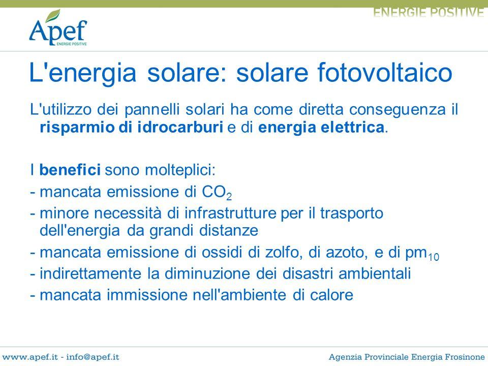 L'utilizzo dei pannelli solari ha come diretta conseguenza il risparmio di idrocarburi e di energia elettrica. I benefici sono molteplici: - mancata e