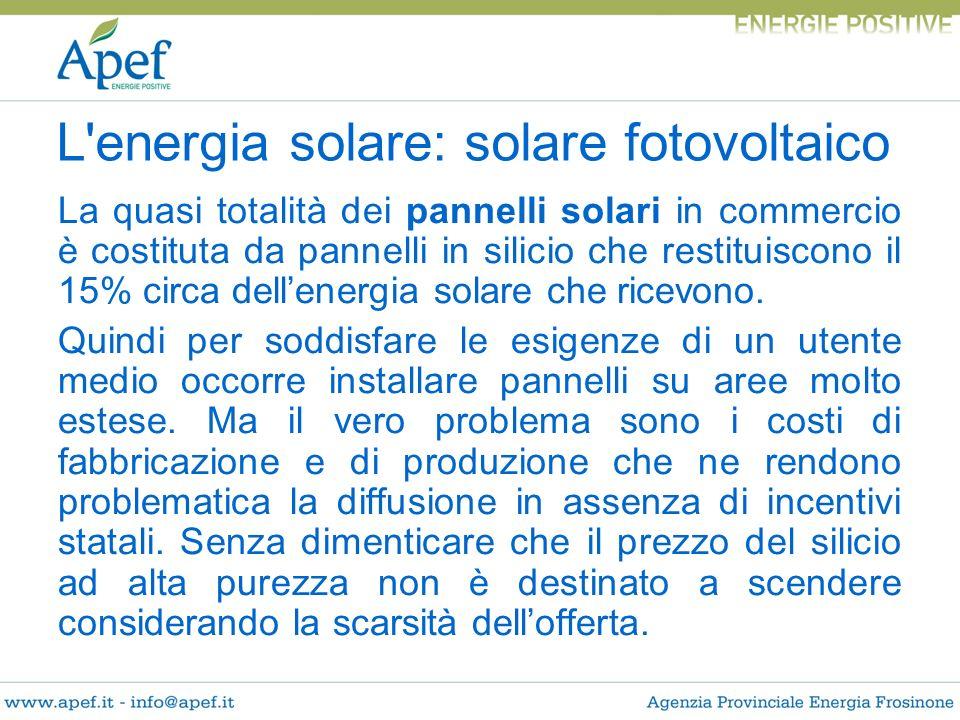 La quasi totalità dei pannelli solari in commercio è costituta da pannelli in silicio che restituiscono il 15% circa dellenergia solare che ricevono.