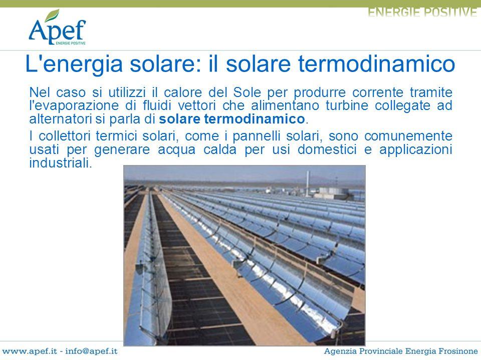 Nel caso si utilizzi il calore del Sole per produrre corrente tramite l'evaporazione di fluidi vettori che alimentano turbine collegate ad alternatori