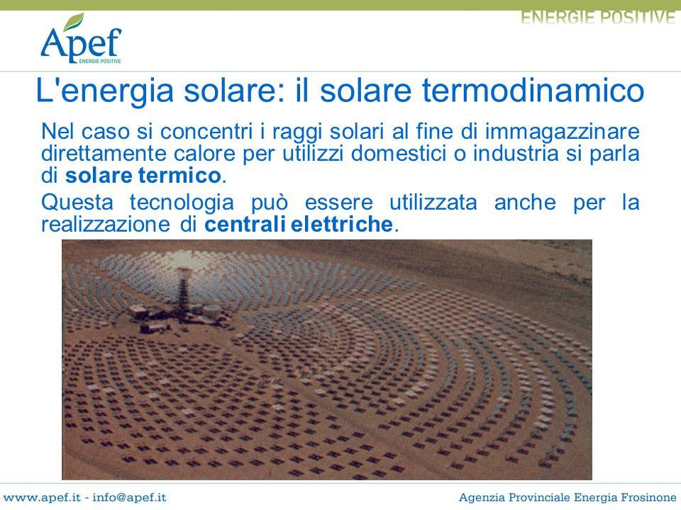 Nel caso si concentri i raggi solari al fine di immagazzinare direttamente calore per utilizzi domestici o industria si parla di solare termico. Quest
