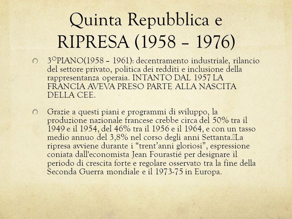 Quinta Repubblica e RIPRESA (1958 – 1976) 3 O PIANO(1958 – 1961): decentramento industriale, rilancio del settore privato, politica dei redditi e incl