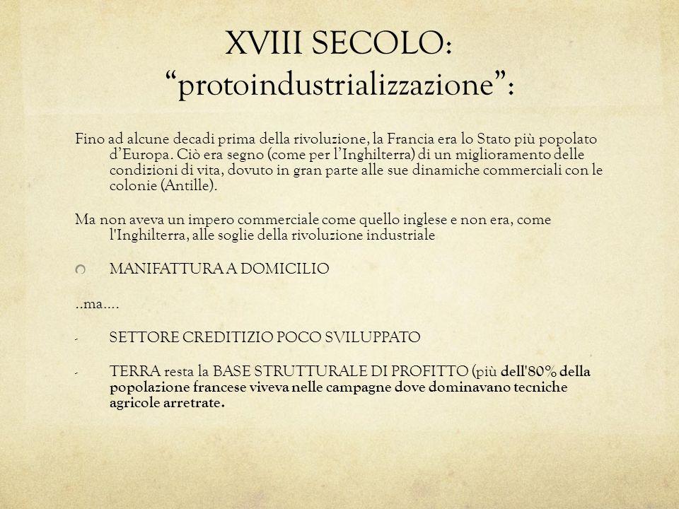 XVIII SECOLO: protoindustrializzazione: Fino ad alcune decadi prima della rivoluzione, la Francia era lo Stato più popolato dEuropa. Ciò era segno (co