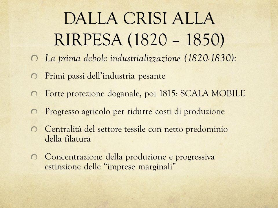 DALLA CRISI ALLA RIRPESA (1820 – 1850) La prima debole industrializzazione (1820-1830): Primi passi dellindustria pesante Forte protezione doganale, p