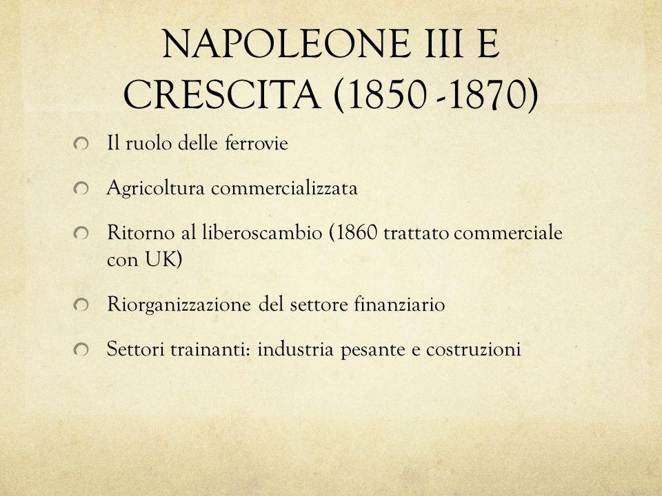 NAPOLEONE III E CRESCITA (1850 -1870) Il ruolo delle ferrovie Agricoltura commercializzata Ritorno al liberoscambio (1860 trattato commerciale con UK)
