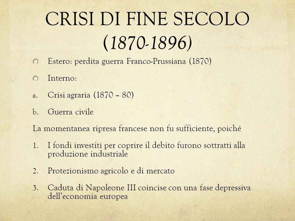 CRISI DI FINE SECOLO ( 1870-1896) Estero: perdita guerra Franco-Prussiana (1870) Interno: a. Crisi agraria (1870 – 80) b. Guerra civile La momentanea