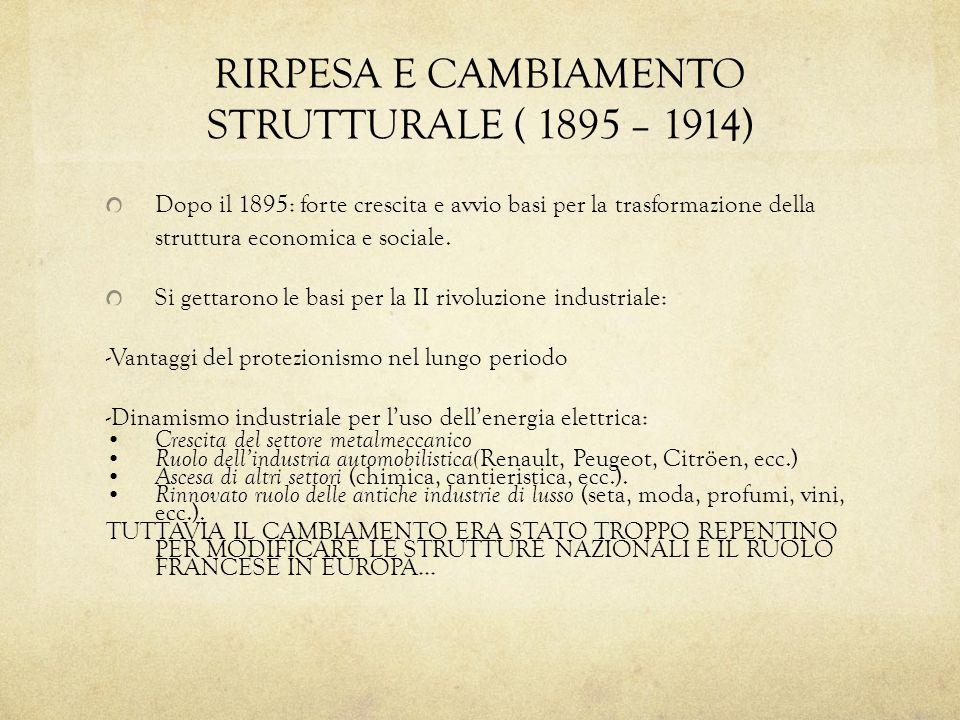 RIRPESA E CAMBIAMENTO STRUTTURALE ( 1895 – 1914) Dopo il 1895: forte crescita e avvio basi per la trasformazione della struttura economica e sociale.