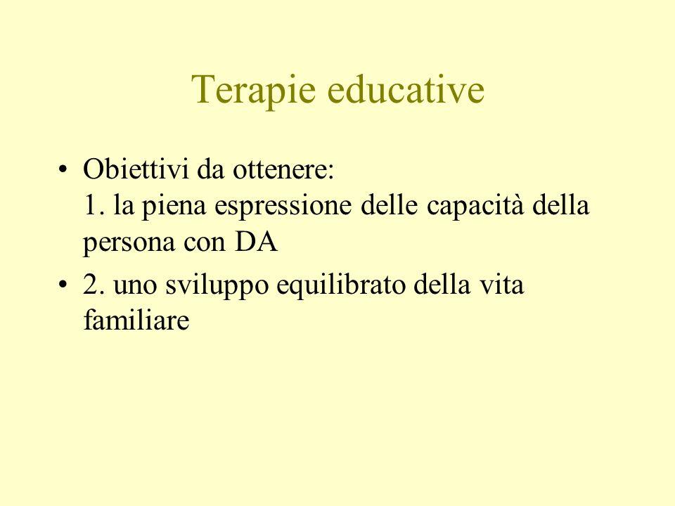 Terapie educative Obiettivi da ottenere: 1. la piena espressione delle capacità della persona con DA 2. uno sviluppo equilibrato della vita familiare
