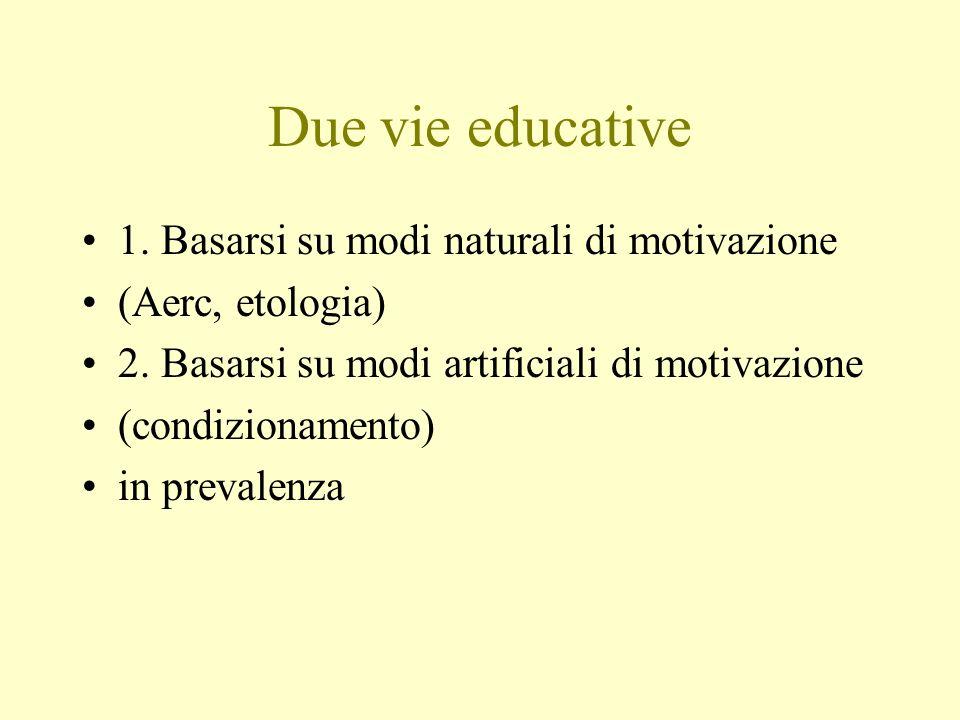 Due vie educative 1. Basarsi su modi naturali di motivazione (Aerc, etologia) 2. Basarsi su modi artificiali di motivazione (condizionamento) in preva