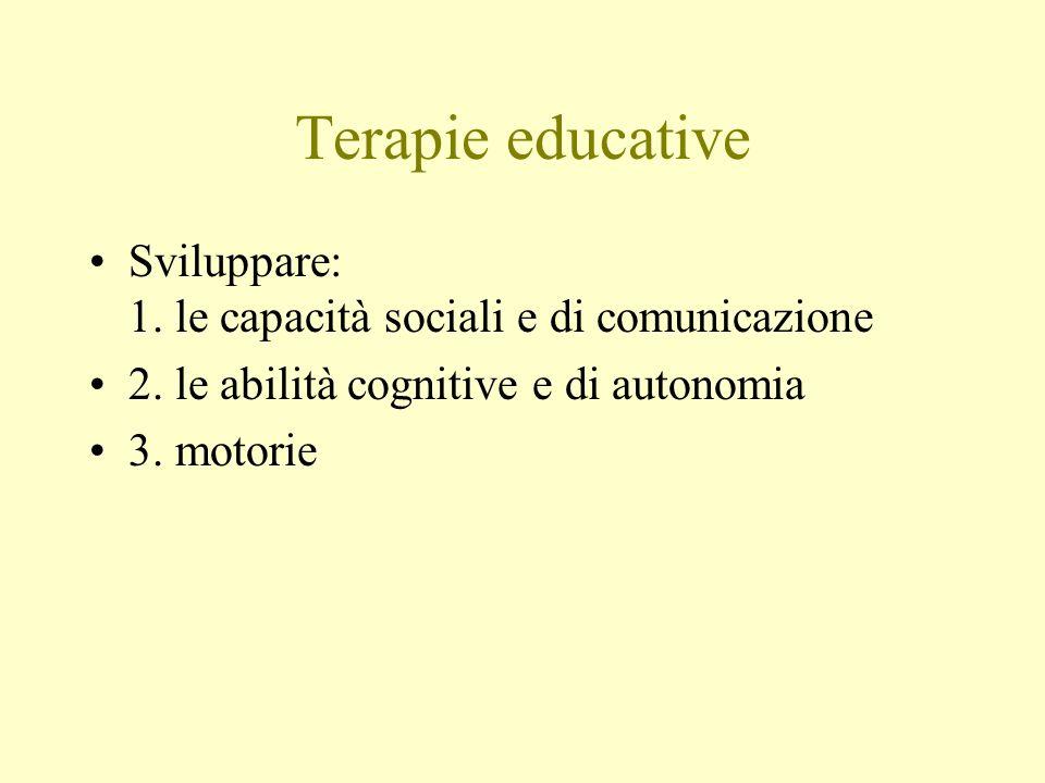 Terapie educative Sviluppare: 1. le capacità sociali e di comunicazione 2. le abilità cognitive e di autonomia 3. motorie