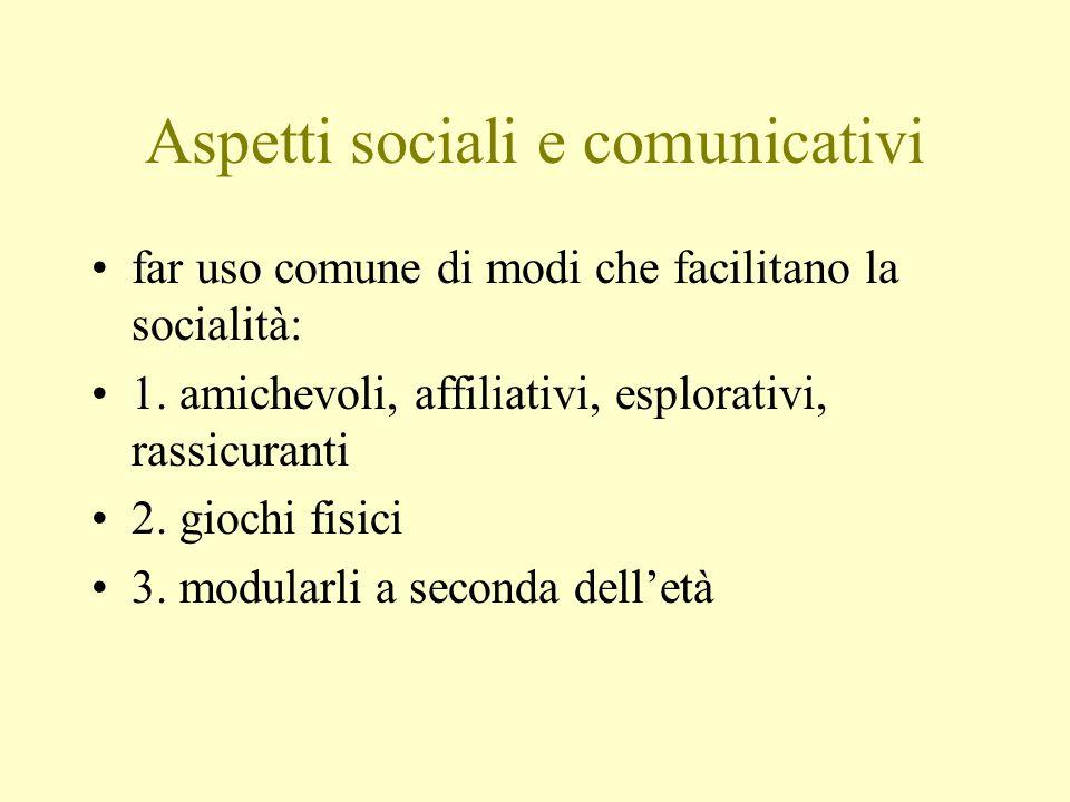 Aspetti sociali e comunicativi far uso comune di modi che facilitano la socialità: 1. amichevoli, affiliativi, esplorativi, rassicuranti 2. giochi fis