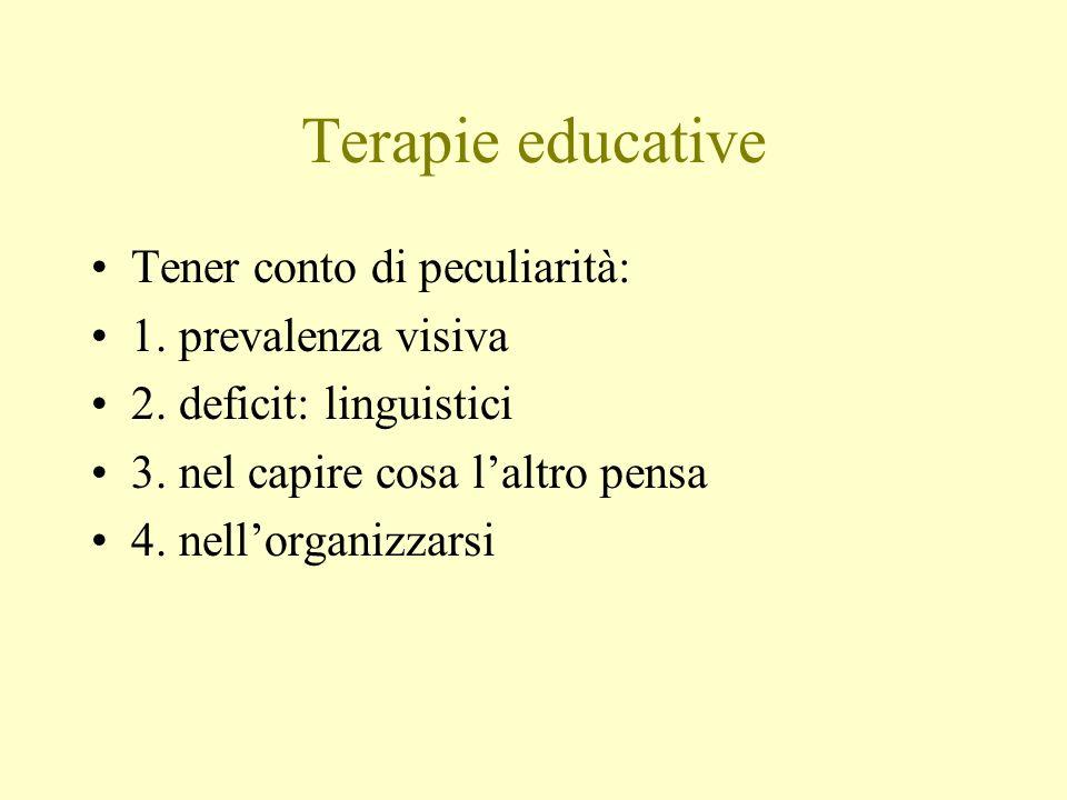 Terapie educative Tener conto di peculiarità: 1. prevalenza visiva 2. deficit: linguistici 3. nel capire cosa laltro pensa 4. nellorganizzarsi