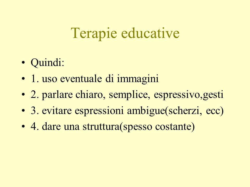 Terapie educative Quindi: 1. uso eventuale di immagini 2. parlare chiaro, semplice, espressivo,gesti 3. evitare espressioni ambigue(scherzi, ecc) 4. d
