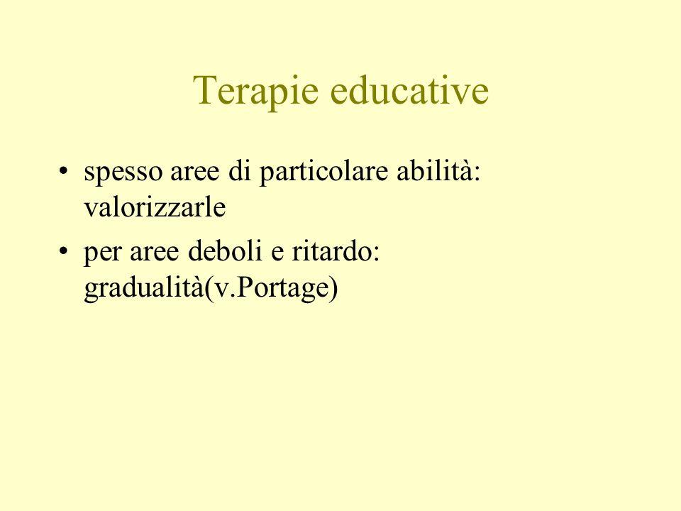 Terapie educative spesso aree di particolare abilità: valorizzarle per aree deboli e ritardo: gradualità(v.Portage)