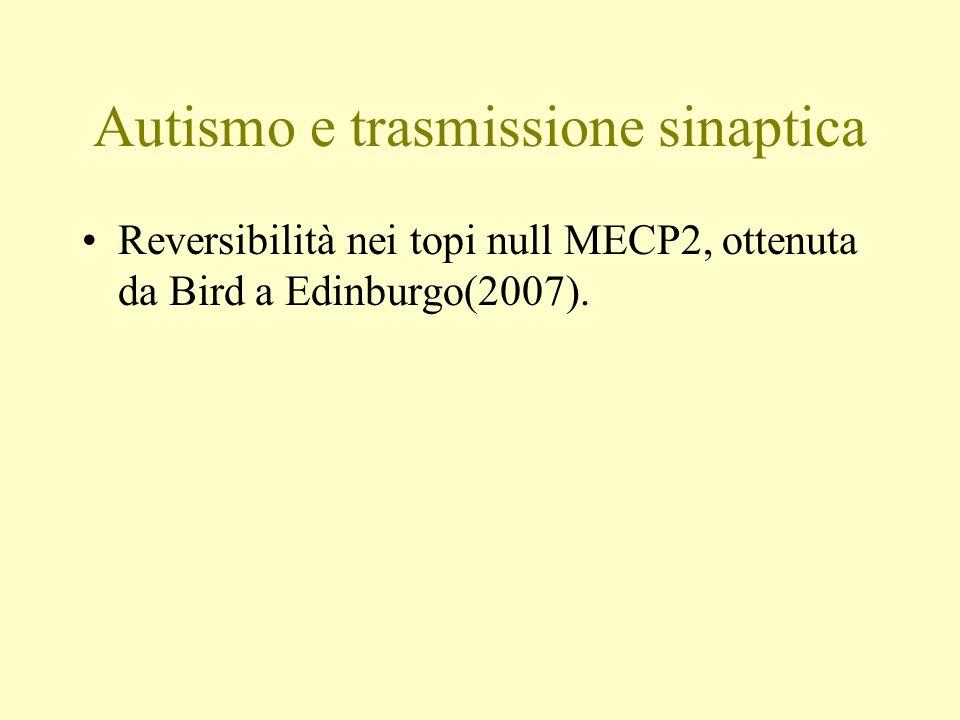 Autismo e trasmissione sinaptica Reversibilità nei topi null MECP2, ottenuta da Bird a Edinburgo(2007).