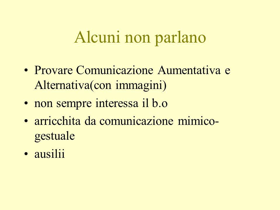 Alcuni non parlano Provare Comunicazione Aumentativa e Alternativa(con immagini) non sempre interessa il b.o arricchita da comunicazione mimico- gestu