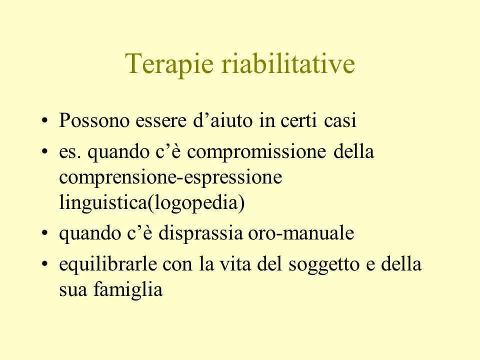 Terapie riabilitative Possono essere daiuto in certi casi es. quando cè compromissione della comprensione-espressione linguistica(logopedia) quando cè