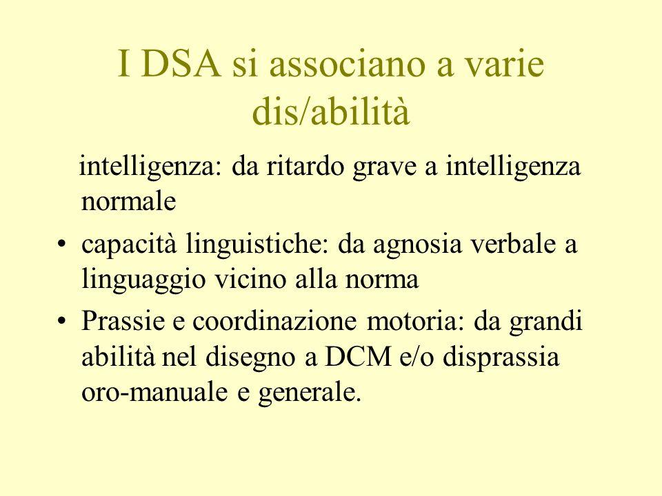 I DSA si associano a varie dis/abilità intelligenza: da ritardo grave a intelligenza normale capacità linguistiche: da agnosia verbale a linguaggio vi