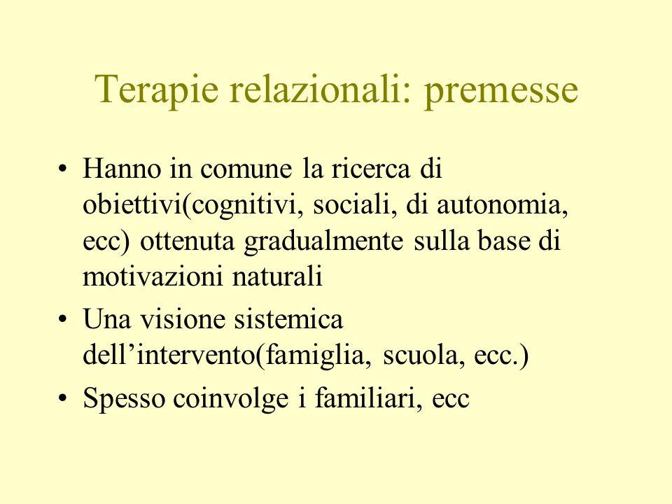 Terapie relazionali: premesse Hanno in comune la ricerca di obiettivi(cognitivi, sociali, di autonomia, ecc) ottenuta gradualmente sulla base di motiv
