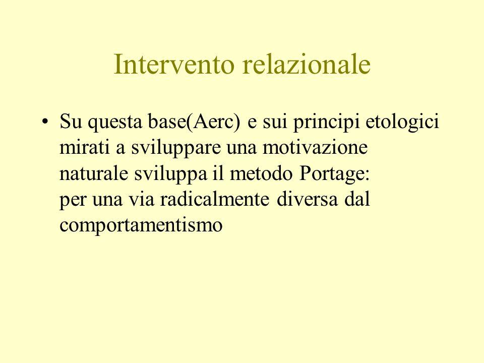 Intervento relazionale Su questa base(Aerc) e sui principi etologici mirati a sviluppare una motivazione naturale sviluppa il metodo Portage: per una