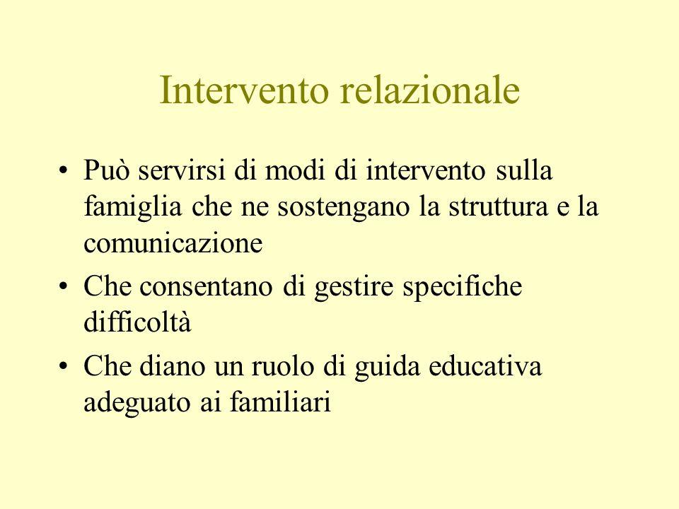 Intervento relazionale Può servirsi di modi di intervento sulla famiglia che ne sostengano la struttura e la comunicazione Che consentano di gestire s