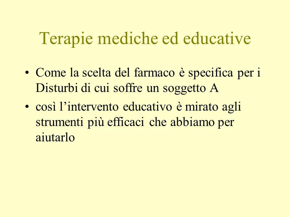Terapie mediche ed educative Come la scelta del farmaco è specifica per i Disturbi di cui soffre un soggetto A così lintervento educativo è mirato agl
