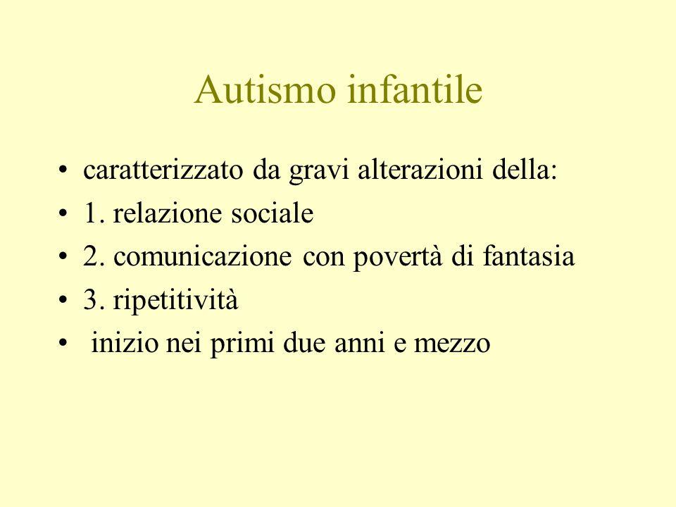 Autismo infantile caratterizzato da gravi alterazioni della: 1. relazione sociale 2. comunicazione con povertà di fantasia 3. ripetitività inizio nei