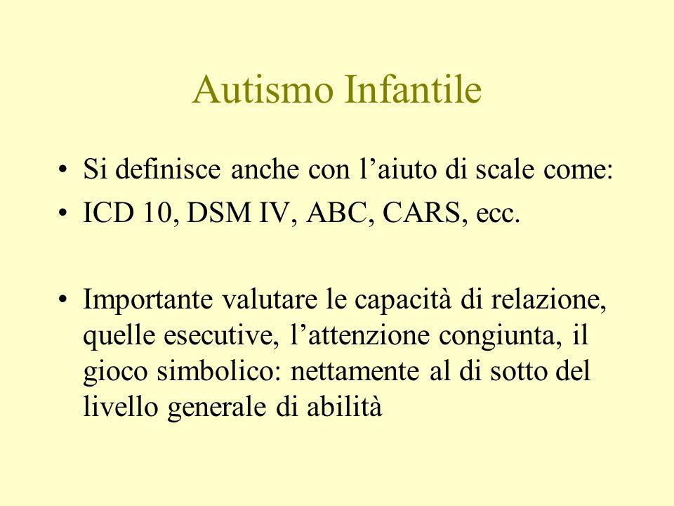 Autismo Infantile Si definisce anche con laiuto di scale come: ICD 10, DSM IV, ABC, CARS, ecc. Importante valutare le capacità di relazione, quelle es