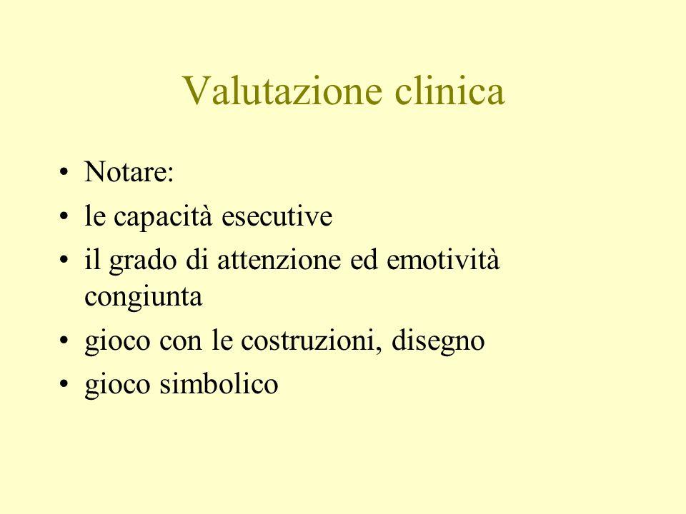 Valutazione clinica Notare: le capacità esecutive il grado di attenzione ed emotività congiunta gioco con le costruzioni, disegno gioco simbolico