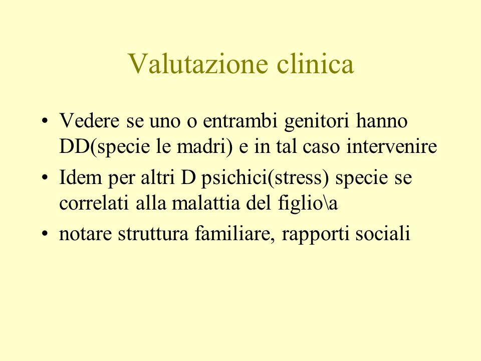 Valutazione clinica Vedere se uno o entrambi genitori hanno DD(specie le madri) e in tal caso intervenire Idem per altri D psichici(stress) specie se
