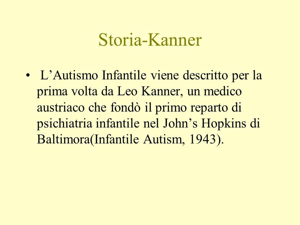 Storia-Kanner Delineò i tre gruppi di sintomi: 1.le gravi difficoltà nella relazione, 2.