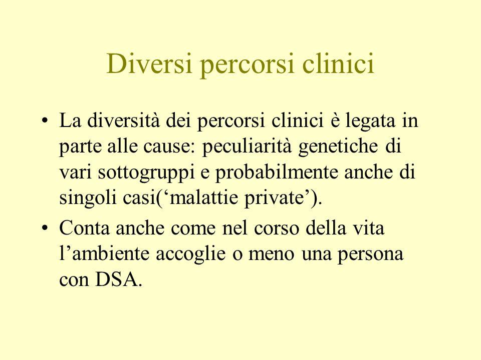 Diversi percorsi clinici La diversità dei percorsi clinici è legata in parte alle cause: peculiarità genetiche di vari sottogruppi e probabilmente anc