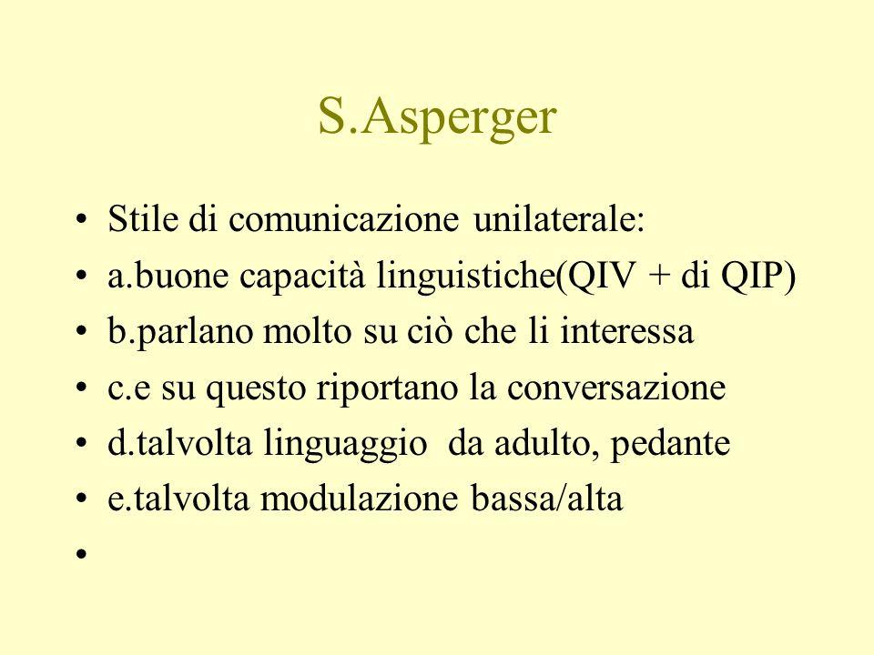 S.Asperger Stile di comunicazione unilaterale: a.buone capacità linguistiche(QIV + di QIP) b.parlano molto su ciò che li interessa c.e su questo ripor