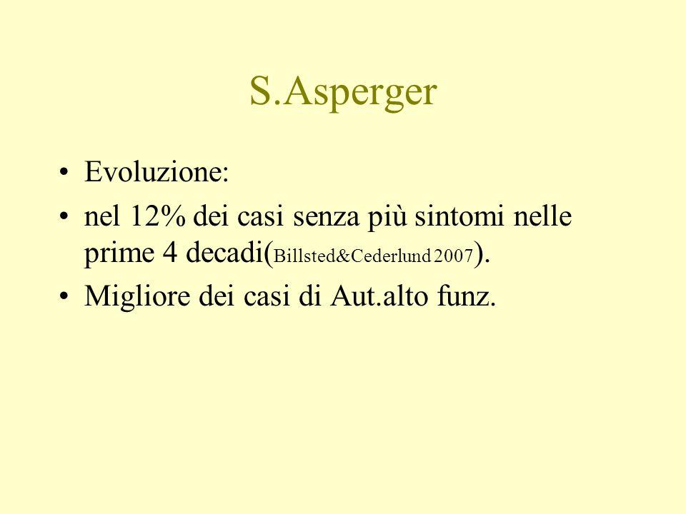 S.Asperger Evoluzione: nel 12% dei casi senza più sintomi nelle prime 4 decadi( Billsted&Cederlund 2007 ). Migliore dei casi di Aut.alto funz.