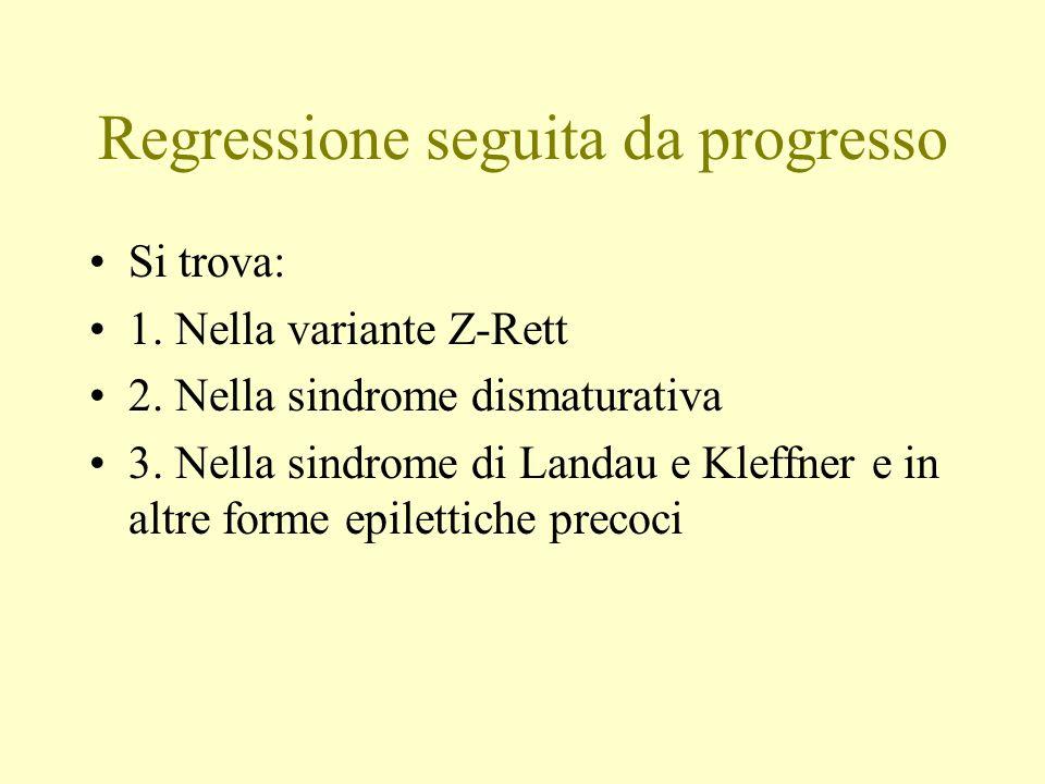 Regressione seguita da progresso Si trova: 1. Nella variante Z-Rett 2. Nella sindrome dismaturativa 3. Nella sindrome di Landau e Kleffner e in altre