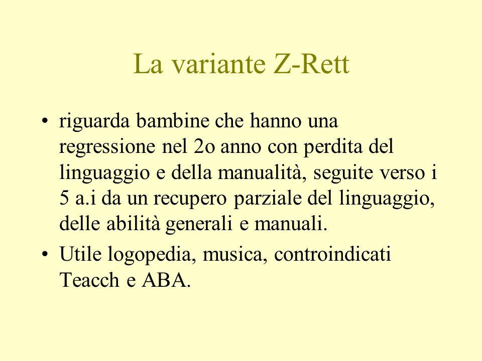 La variante Z-Rett riguarda bambine che hanno una regressione nel 2o anno con perdita del linguaggio e della manualità, seguite verso i 5 a.i da un re