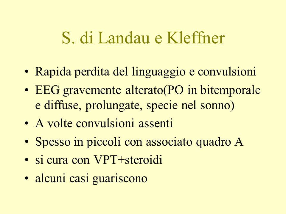 S. di Landau e Kleffner Rapida perdita del linguaggio e convulsioni EEG gravemente alterato(PO in bitemporale e diffuse, prolungate, specie nel sonno)
