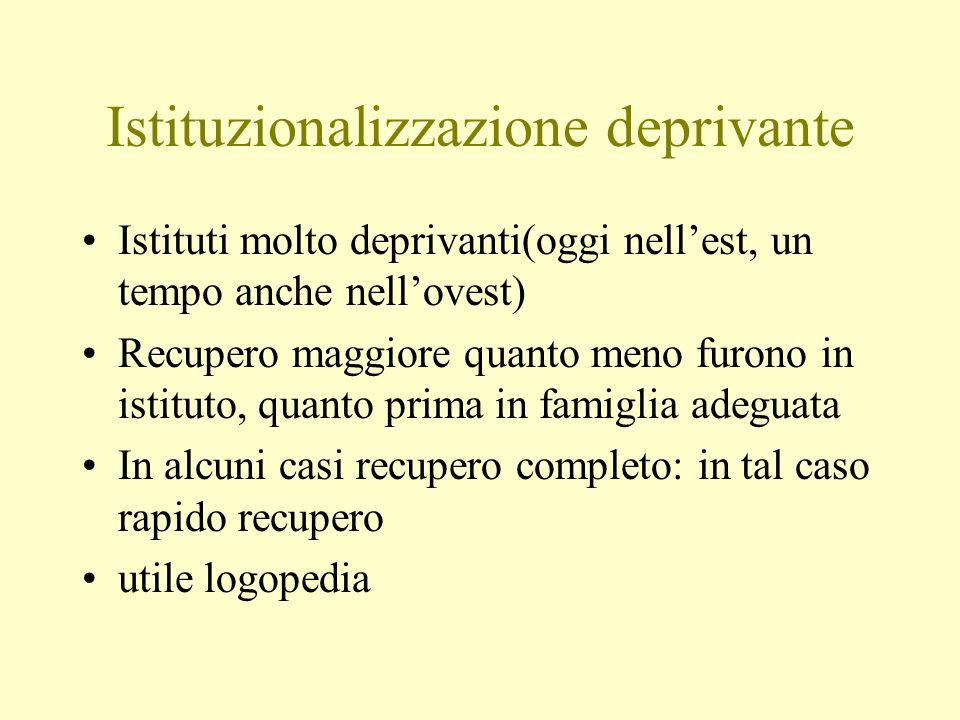 Istituzionalizzazione deprivante Istituti molto deprivanti(oggi nellest, un tempo anche nellovest) Recupero maggiore quanto meno furono in istituto, q