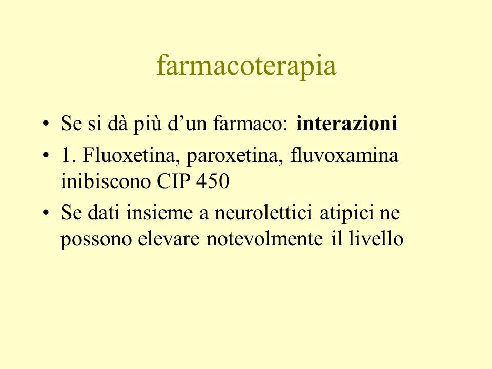 farmacoterapia Se si dà più dun farmaco: interazioni 1. Fluoxetina, paroxetina, fluvoxamina inibiscono CIP 450 Se dati insieme a neurolettici atipici