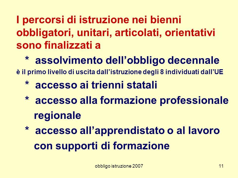 obbligo istruzione 200711 I percorsi di istruzione nei bienni obbligatori, unitari, articolati, orientativi sono finalizzati a * assolvimento dellobbl