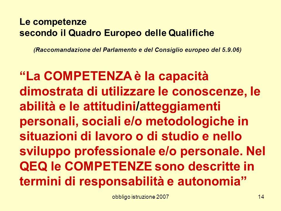 obbligo istruzione 200714 Le competenze secondo il Quadro Europeo delle Qualifiche (Raccomandazione del Parlamento e del Consiglio europeo del 5.9.06)