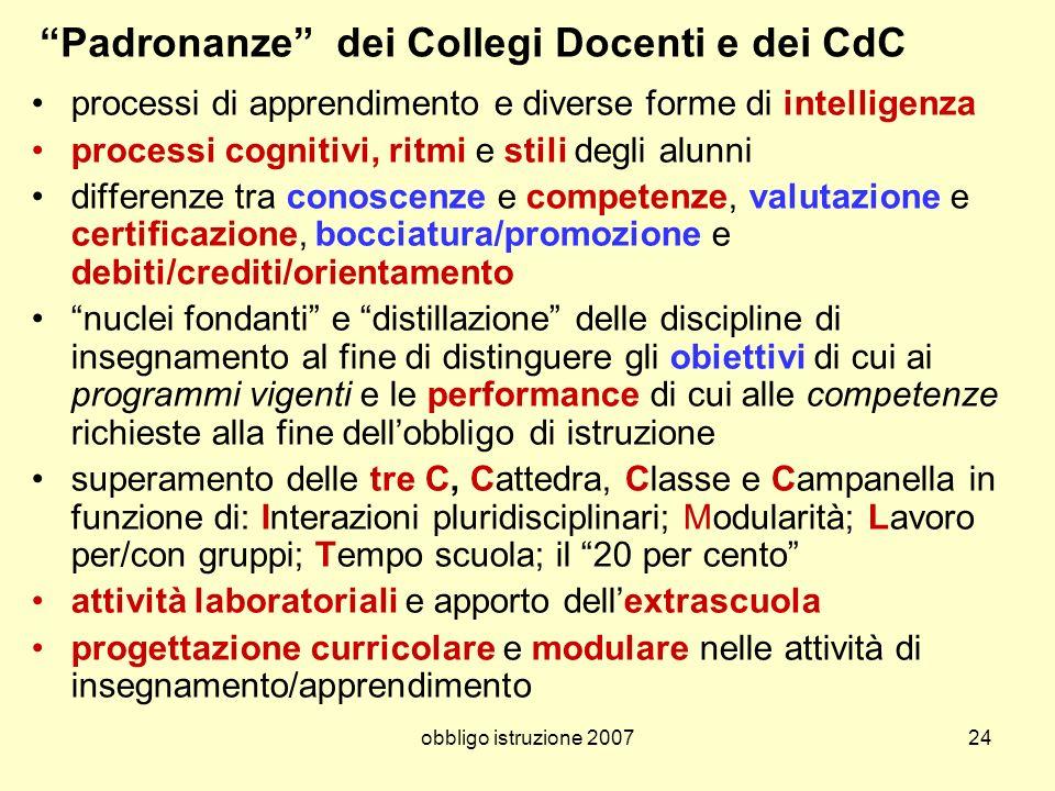 obbligo istruzione 200724 Padronanze dei Collegi Docenti e dei CdC processi di apprendimento e diverse forme di intelligenza processi cognitivi, ritmi